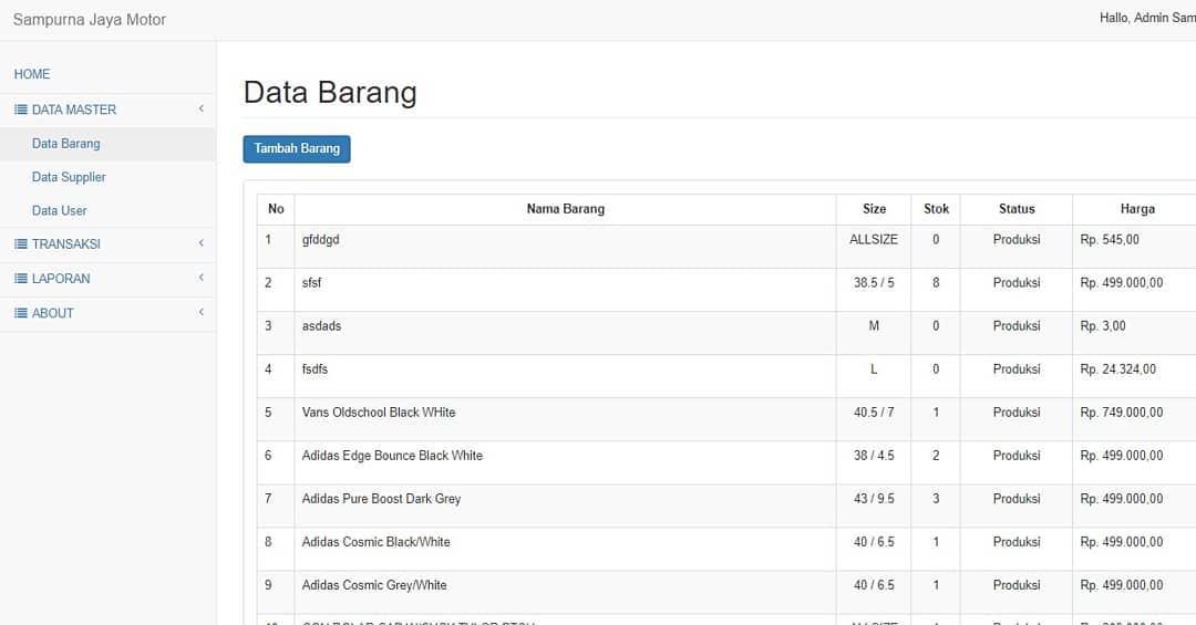 Aplikasi Penjualan Sparepart Kendaraan Native PHP