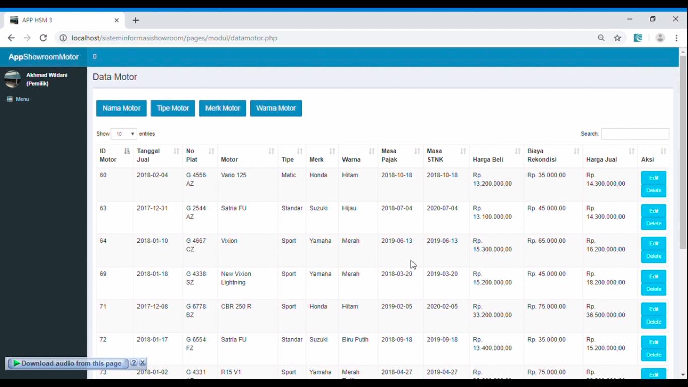 Sistem Informasi Penjualan Sepeda Motor Native PHP